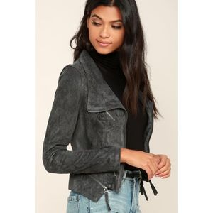 Lulus Ready for Anything Grey Suede Moto Jacket